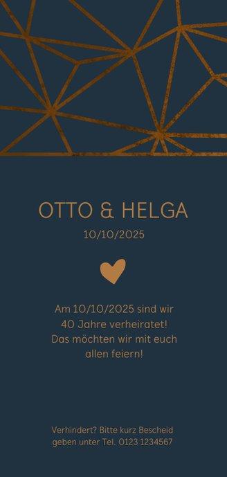 Einladungskarte 40. Hochzeitstag geometrisch 2