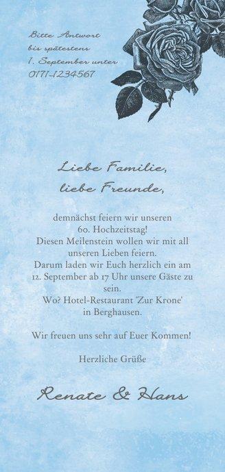 Einladungskarte Diamantene Hochzeit Rosen Rückseite