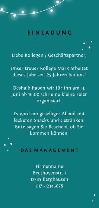 Einladungskarte Dienstjubiläum Lichter und Foto Rückseite