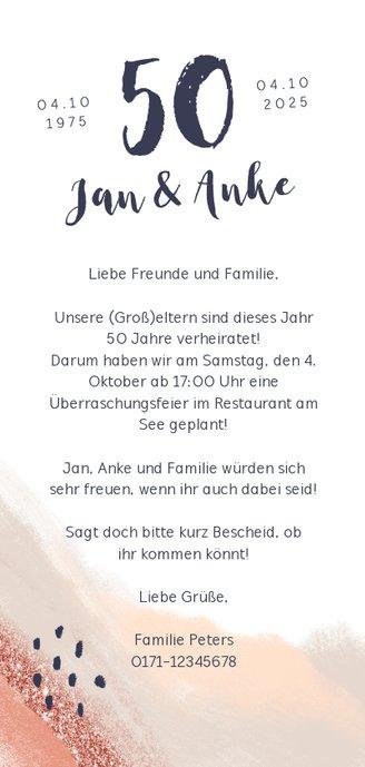 Einladungskarte Jubiläum abstrakt mit Foto Rückseite