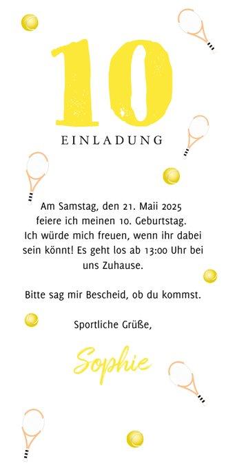 Einladungskarte Kindergeburtstag Tennis mit Foto Rückseite