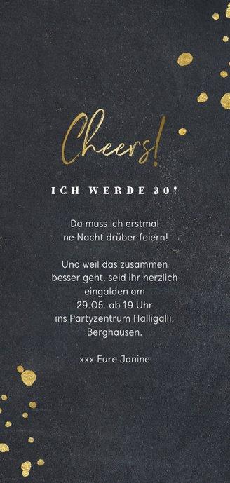 Einladungskarte Let's party mit Foto Rückseite