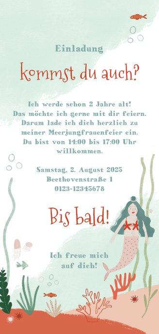 Einladungskarte Meerjungfrauen Geburtstag Rückseite