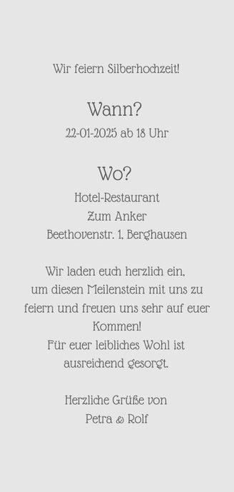 Einladungskarte Silberhochzeit '25 years of love' 3