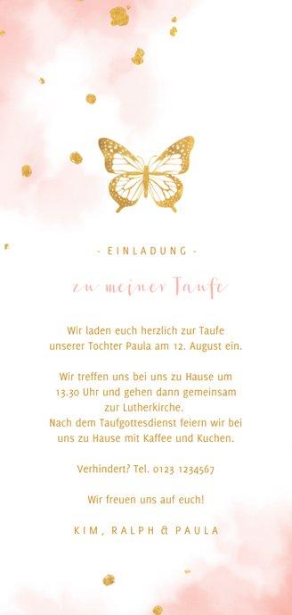 Einladungskarte Taufe Foto und Schmetterling Rückseite
