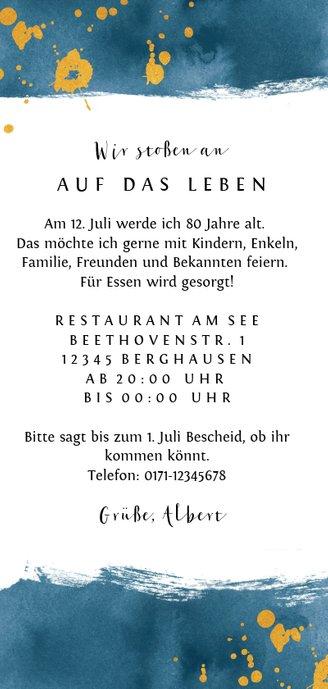 Einladungskarte Wasserfarbe, Alter und Foto Rückseite