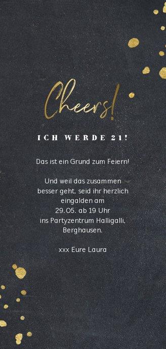 Einladungskarte zum 21. Geburtstag schwarz mit Foto Rückseite