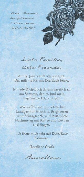 Einladungskarte zum Geburtstag Rosen graublau Rückseite
