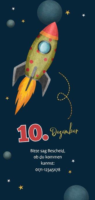 Einladungskarte zum Weltraum Kindergeburtstag 2