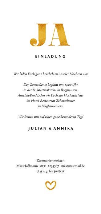 Einladungskarte zur Hochzeit Goldakzente Foto Hochformat Rückseite