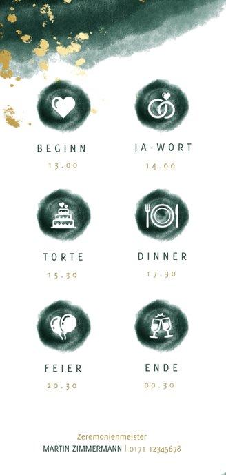 Einladungskarte zur Hochzeit grün-gold mit Timeline 2