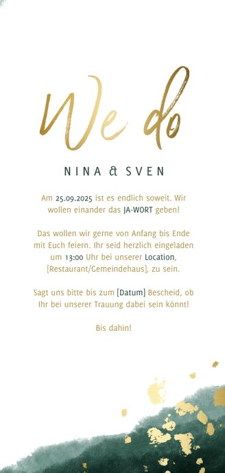 Einladungskarte zur Hochzeit grün-gold mit Timeline 3