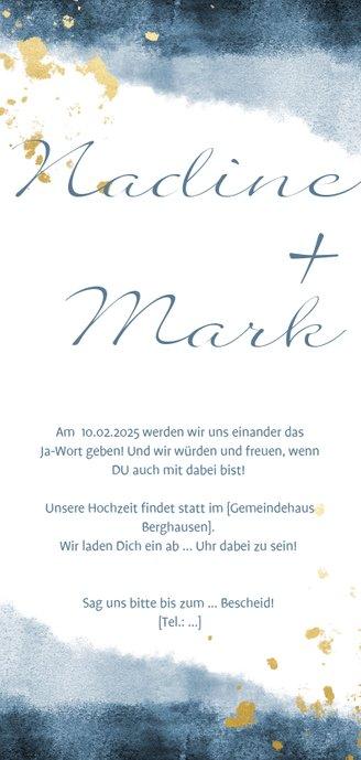 Einladungskarte zur Hochzeit im blauen Aquarelldesign Rückseite