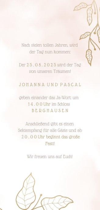 Einladungskarte zur Hochzeit mit eleganten Blumen 3