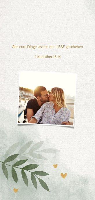 Einladungskarte zur Hochzeit mit Foto, Herzen und Zweigen 2