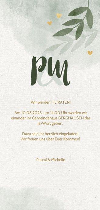 Einladungskarte zur Hochzeit mit Foto, Herzen und Zweigen 3