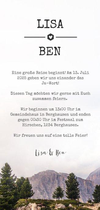 Einladungskarte zur Hochzeit mit Foto im botanischen Look 3