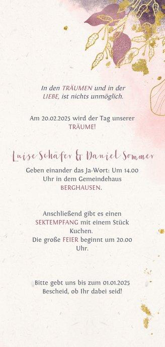 Einladungskarte zur Hochzeit mit Foto und stilvollen Blumen 3