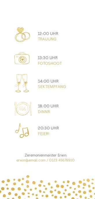 Einladungskarte zur Hochzeit mit Timeline im Goldlook 2