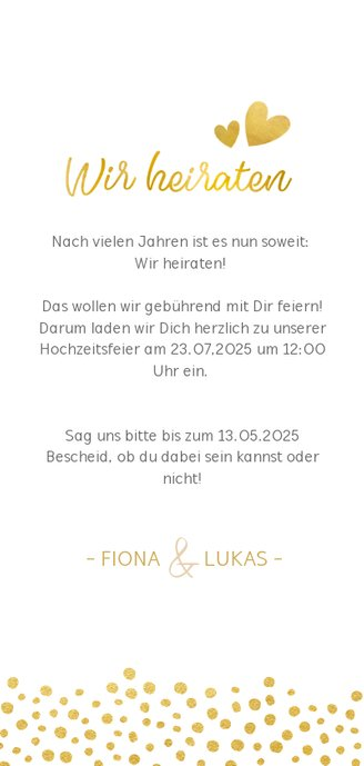 Einladungskarte zur Hochzeit mit Timeline im Goldlook 3