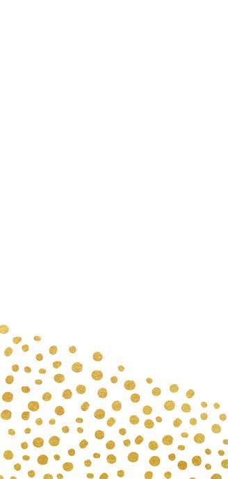Einladungskarte zur Hochzeit mit Timeline im Goldlook Rückseite