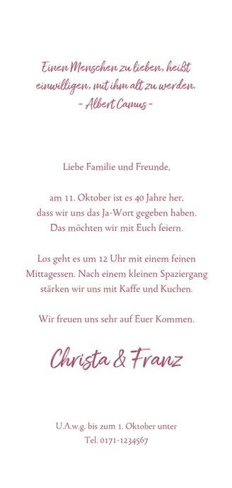 Einladungskarte zur Hochzeitsjubiläum Rubinhochzeit Foto 3