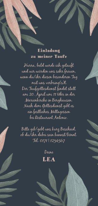 Einladungskarte zur Taufe Dschungel Rückseite
