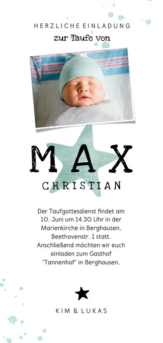 Einladungskarte zur Taufe Sterne Foto Rückseite Rückseite