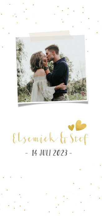 Feestelijke langwerpige menukaart voor een huwelijk met goud 2