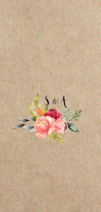 Floral chic trouwkaart met prachtige watercolor bloemen Achterkant