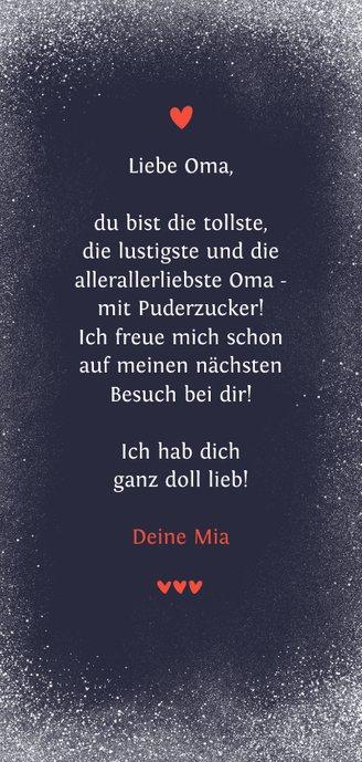 Foto-Grußkarte Oma Spruch Puderzucker Rückseite