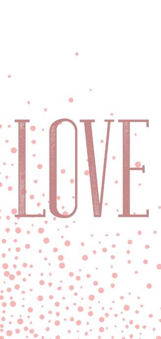 Foto-Liebeskarte LOVE Typografie und rosa Punkte 2
