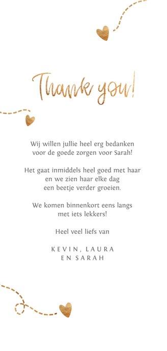 Fotokaart eigen foto's 'Thank you' Achterkant