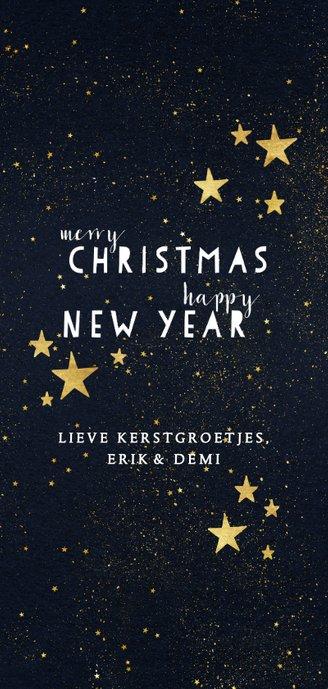 Fotokaart met typografie en gouden sterren Achterkant