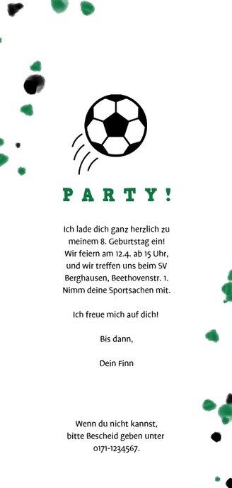 Fußball-Einladung mit Foto und Farbspritzern Rückseite