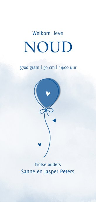 Geboorte Ballon op waterverf achtergrond blauw 3