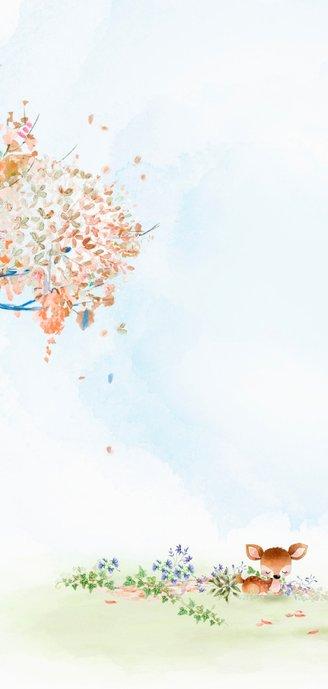 Geboortekaart hertje - herfstboom 2