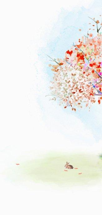 Geboortekaart hertje - herfstboom Achterkant