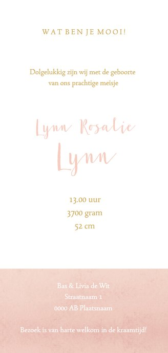 Geboortekaart langwerpig roze aquarel silhouet - BC Achterkant
