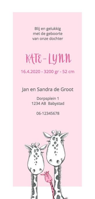Geboortekaart zwart-wit-roze giraffe Achterkant