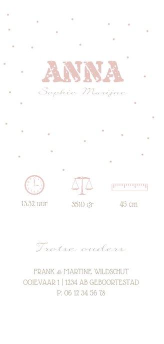 Geboortekaartje confetti met foto en gouden ster Achterkant