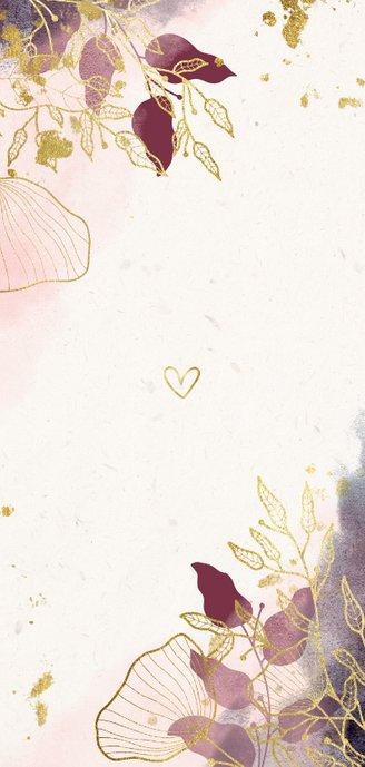 Geboortekaartje dubbel stijlvol met waterverf en bloemen Achterkant