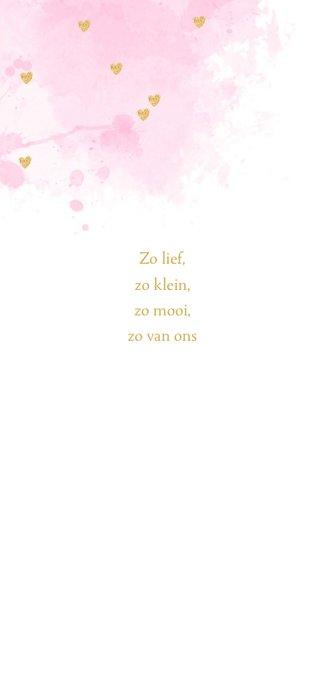 Geboortekaartje  foto aquarel hartjes roze  2