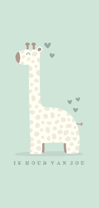Geboortekaartje giraf langwerpig jongen met hartjes 2