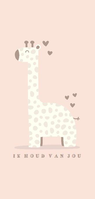 Geboortekaartje giraf meisje met hartjes 2