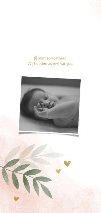 Geboortekaartje gouden hartjes roze waterverf takjes 2
