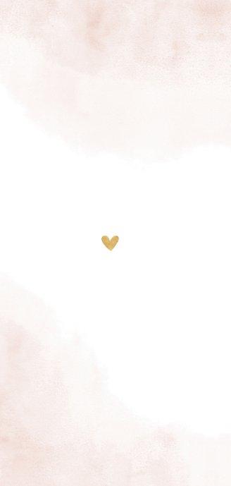 Geboortekaartje gouden hartjes roze waterverf takjes Achterkant