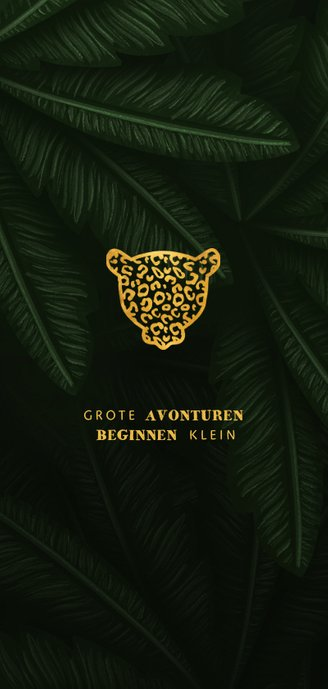 Geboortekaartje gouden silhouet panter met jungle bladeren 2
