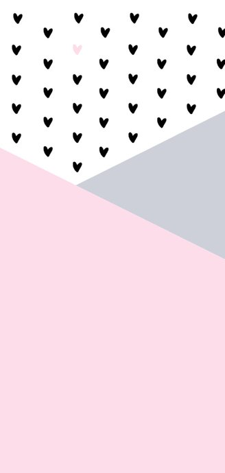 Geboortekaartje grafisch hartjes hip roze  2