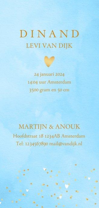 Geboortekaartje hartjes waterverf letter blauw 3